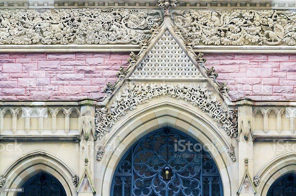 Gothic Church Entrance With Biblical Animal World Decoration Stock