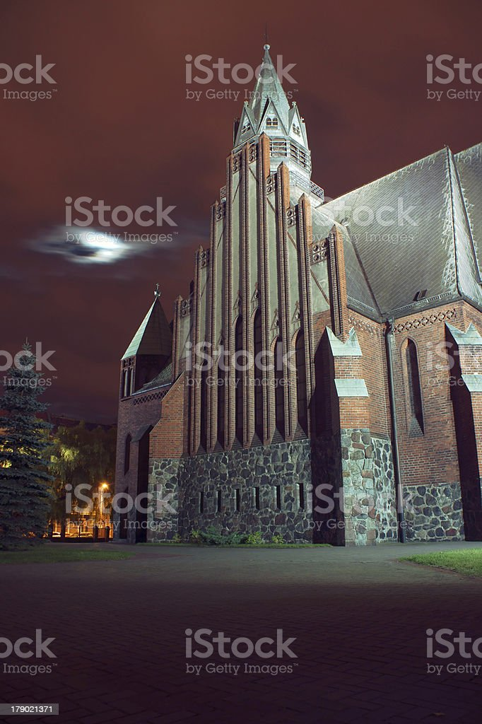 gothic church with tower by night royalty-free stock photo