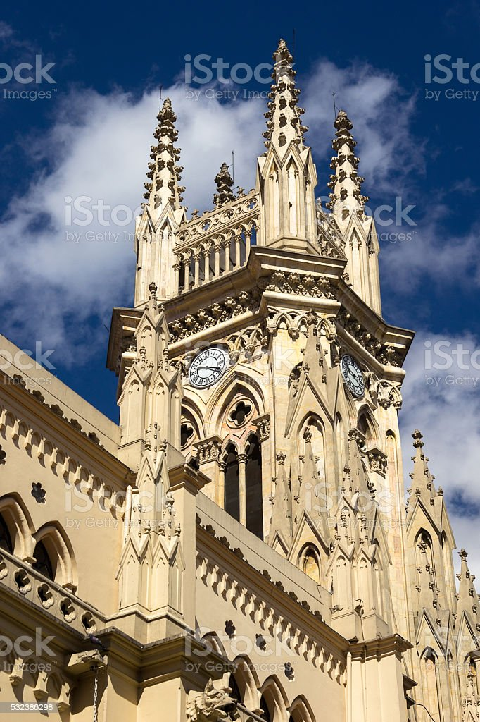 Gothic clock tower. stock photo
