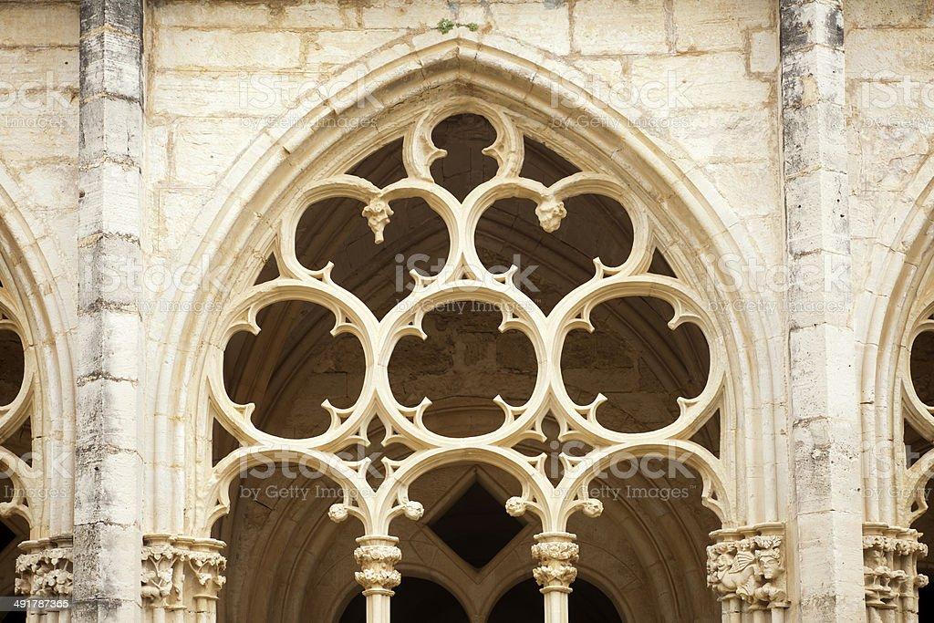 Gothic cloister window stock photo