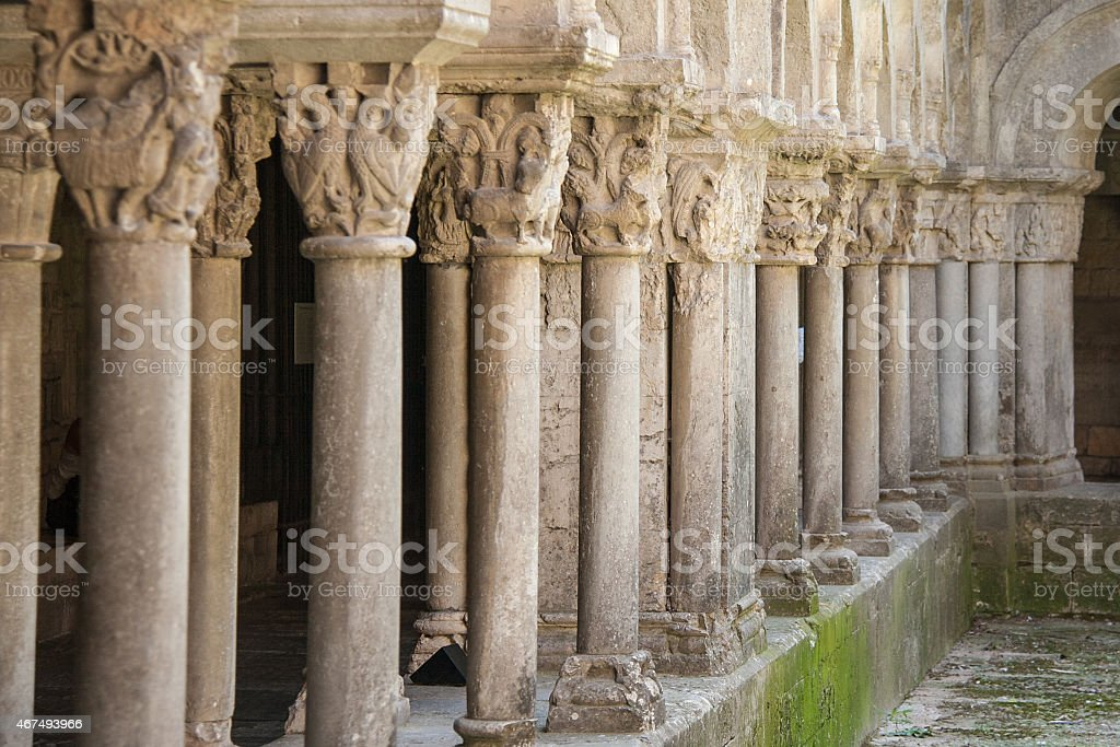 Gothic colonnade stock photo