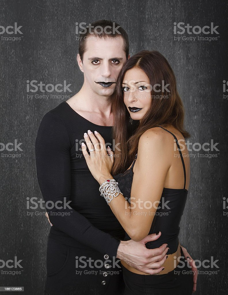 gothic couple looking for a portrait royalty-free stock photo