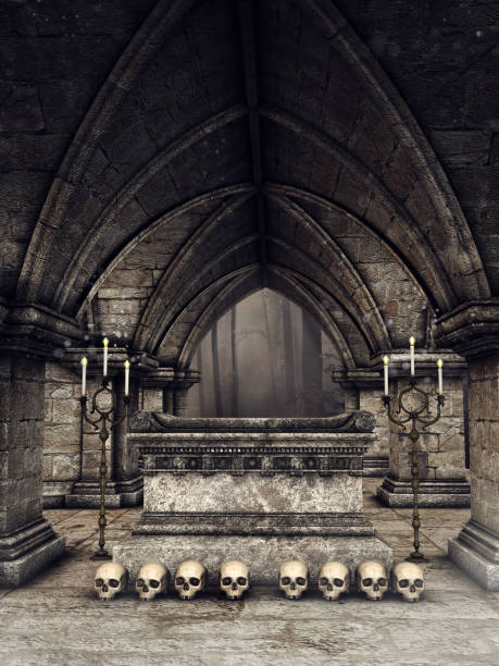 gothic crypt with human skulls - crypt stock pictures, royalty-free photos & images