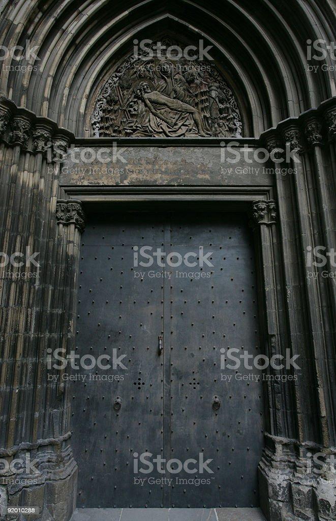 Gothic door in Spain royalty-free stock photo