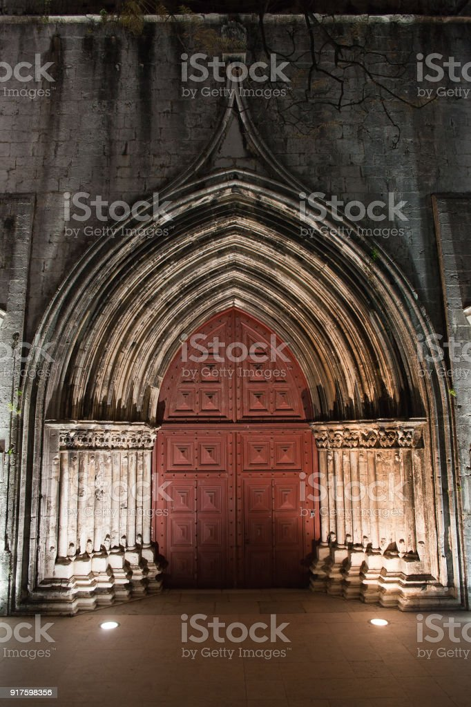 Gothic Door to the Igreja do Carmo in Lisbon stock photo