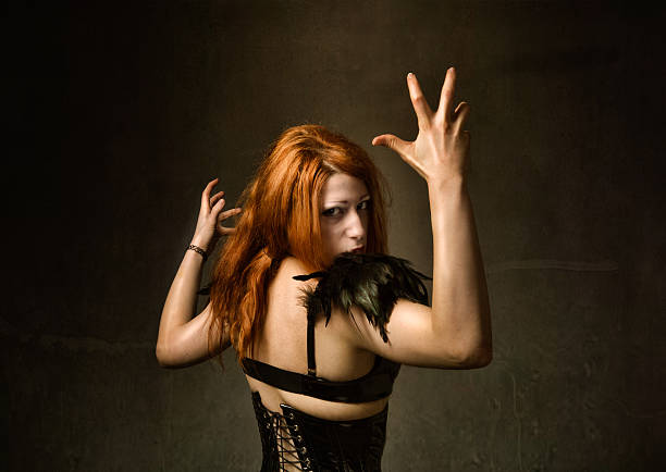 gothic girl horror pose - demoniac stock pictures, royalty-free photos & images