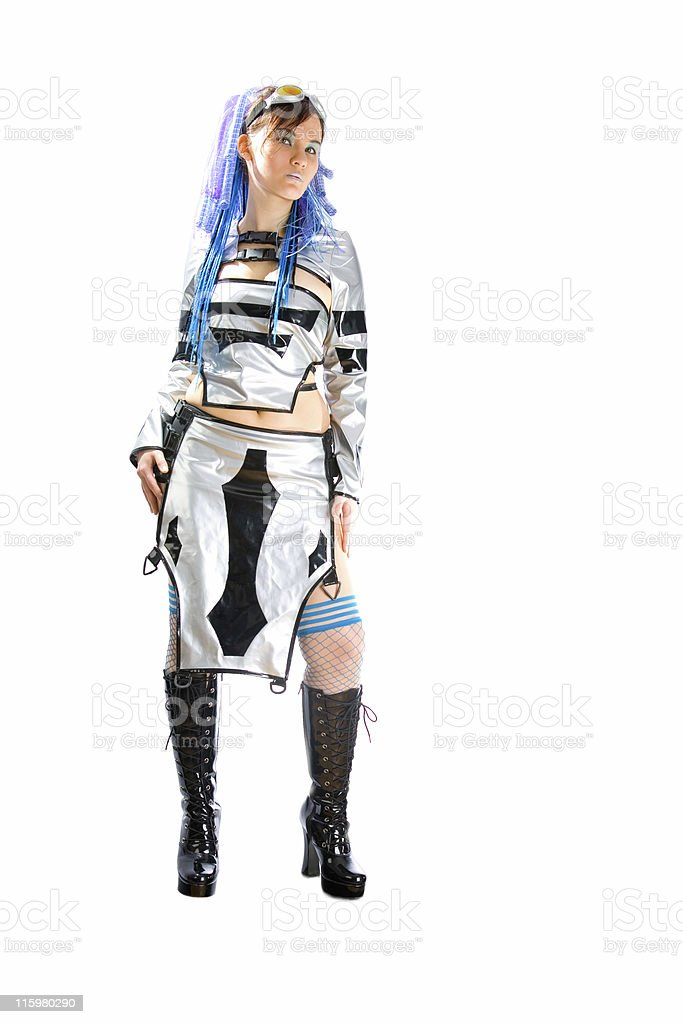 Gothic girl in cyber outfit royalty-free stock photo