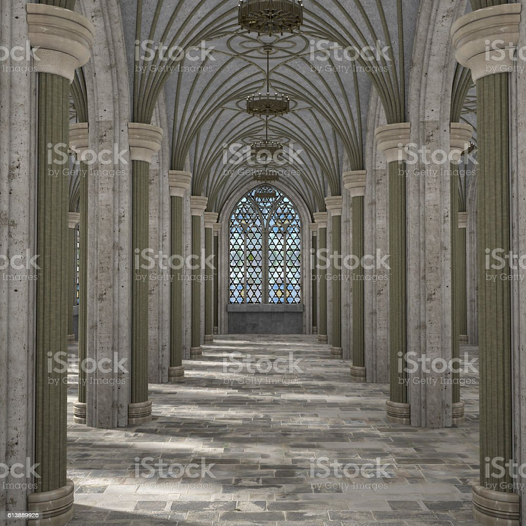 Gothic hall interior 3d illustration stock photo