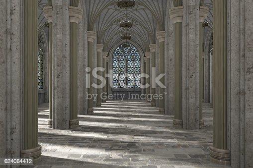 istock Gothic hall interior 3d illustration 624064412