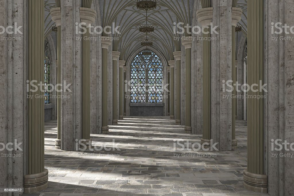 Gothic hall interior 3d illustration - Photo