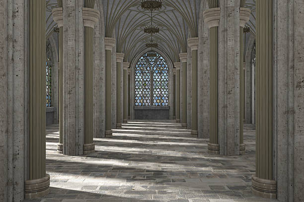 gothic hall interior 3d illustration - gothic style stock pictures, royalty-free photos & images