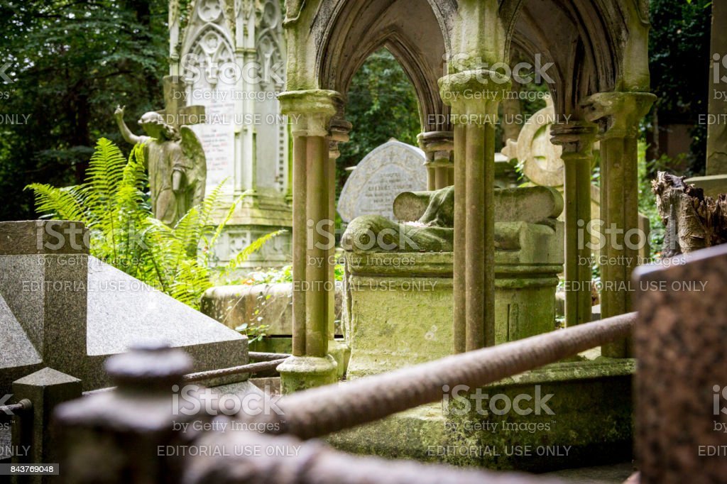 Gothic headstones, sculptures and mausoleums at Highgate Cemetery stock photo