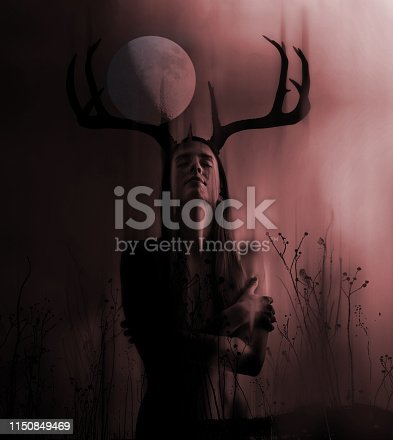 Gothic Multiple Exposure with woman, antlers and full moon,
