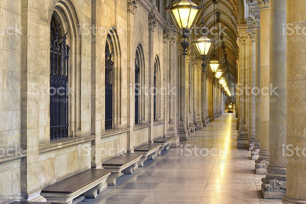 Gothic Passage - Town Hall Vienna / Rathaus Wien (XXXL) royalty-free stock photo