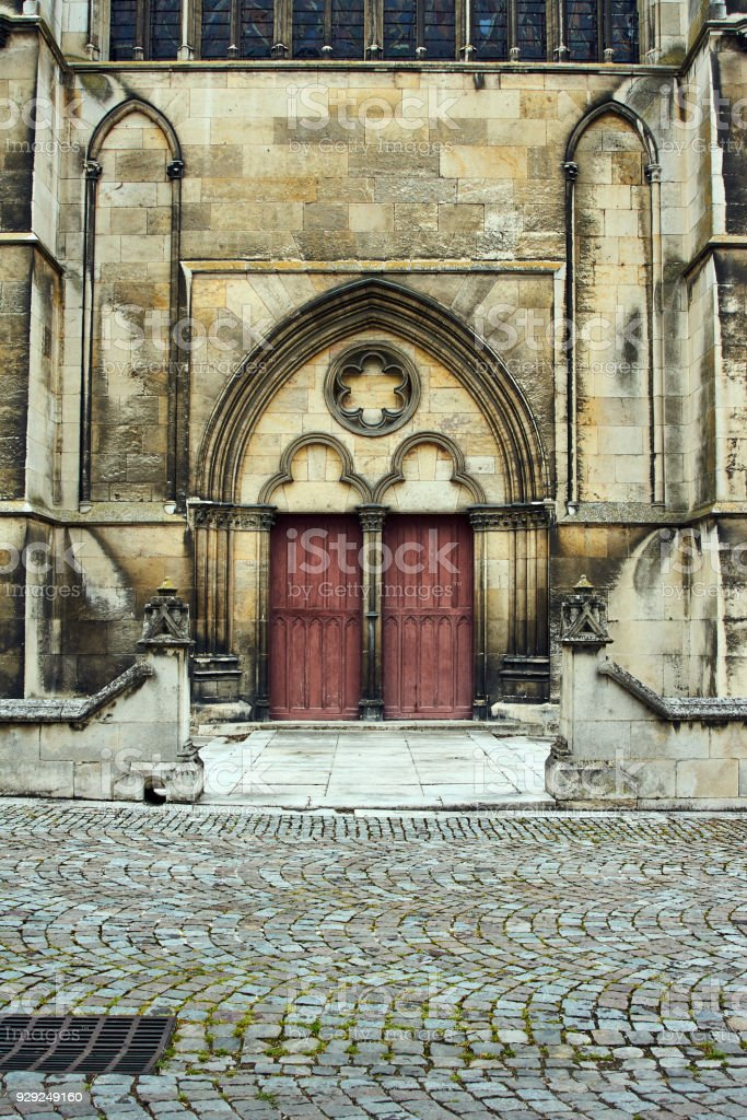 gothic Portal of the cathedral stock photo