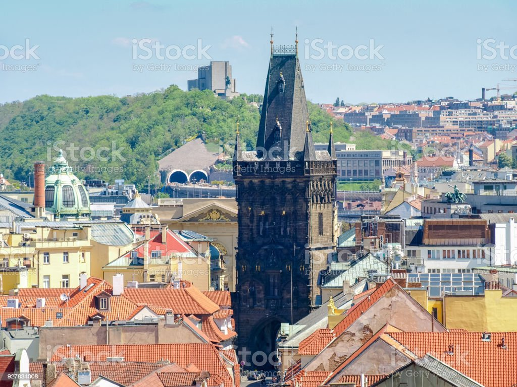 Gothic Powder Tower from the Old Town City Hall, Prague stock photo