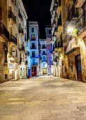 colorful night scene in gothic quarter, Barcelona, Spain