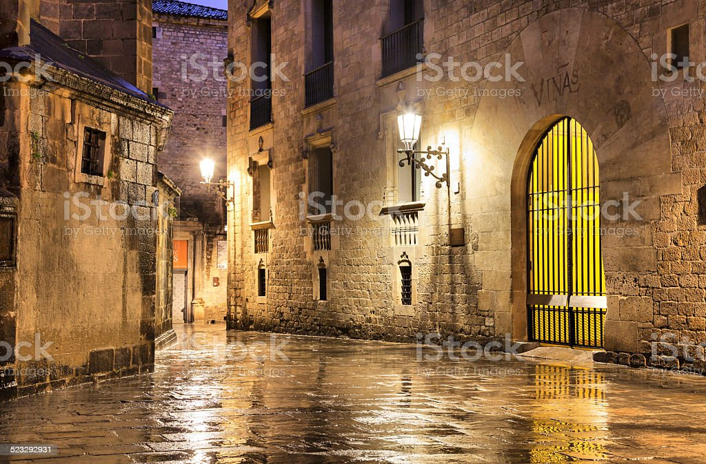 Gothic quarter of Barcelona in wet weather conditions stock photo