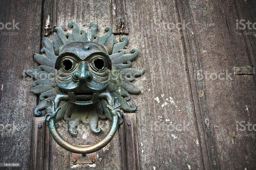 Gothic sanctuary door knocker, Durham Cathedral royalty-free stock photo