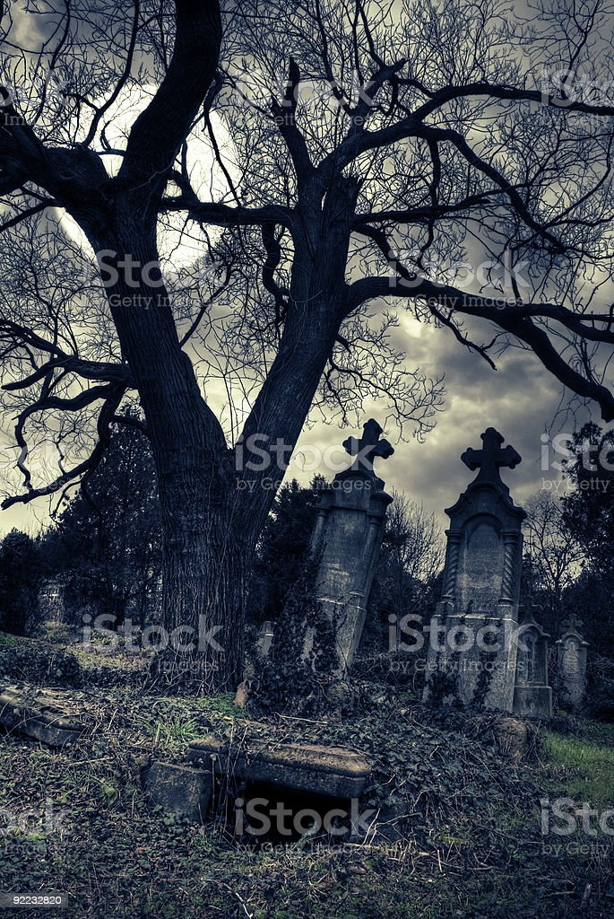 gothic scene with opened tomb stock photo