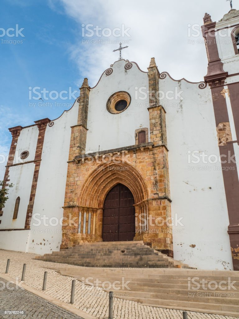 Gothic Silves Cathedral on the southern Portugal stock photo