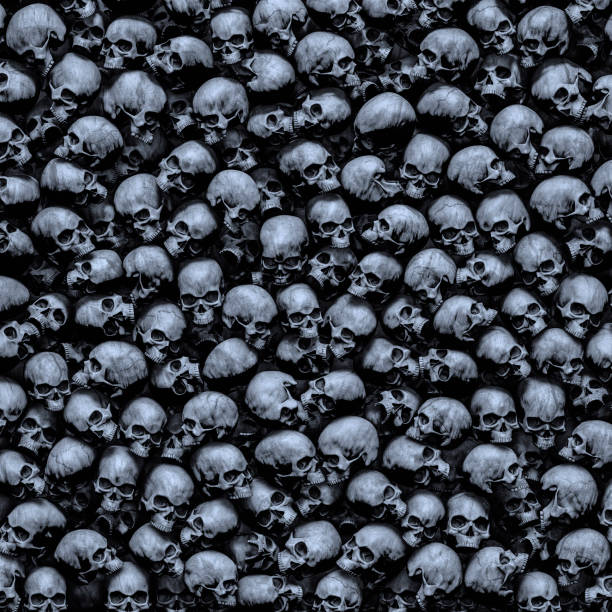 Gothic skulls background stock photo
