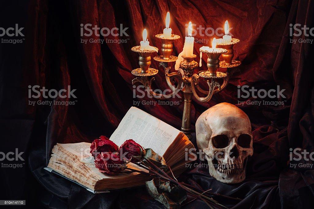 Gothic still life with skull stock photo