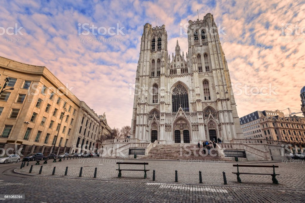 Gothic style Cathedral of Brussels, Belgium royalty-free stock photo