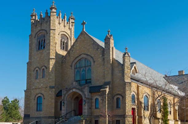 Gothic Style Church Facade in Saint Paul stock photo