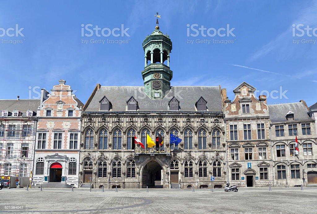Gothic style City Hall in Mons, Belgium stock photo