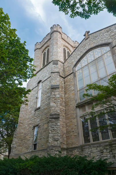 Gothic Style Landmark Church in Milwaukee stock photo