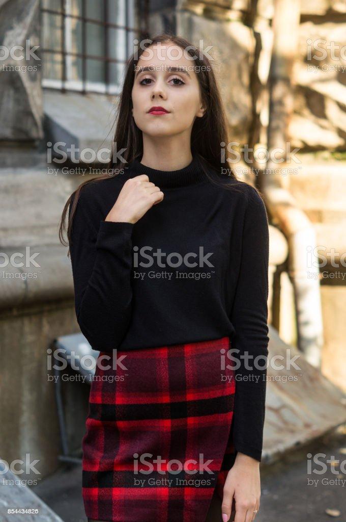 Gothic stylish pretty girl stock photo