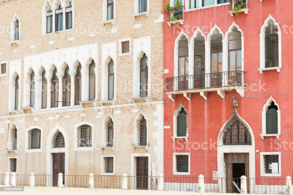 Gothic syle buildings in Venice stock photo