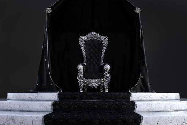 gothic throne room background, 3d render. - tron zdjęcia i obrazy z banku zdjęć