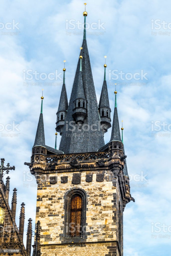 Gothic tower of the týn Church stock photo