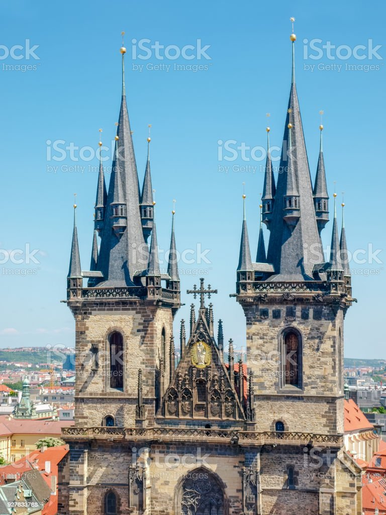 Gothic towers of Our Lady Church before Tyn closeup, Prague stock photo