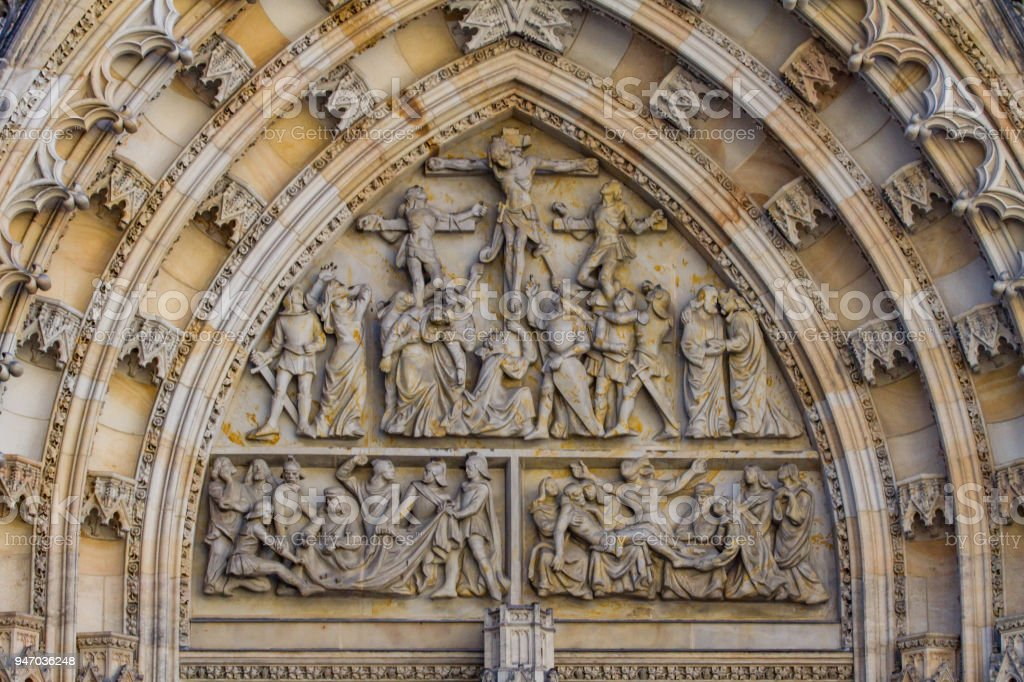 Gothic West door of St Vitus Cathedral stock photo