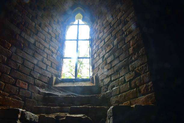 Gothic window. Ruins of medieval convent. Convent Rosa Coeli at Dolni Kounice, Czechia stock photo
