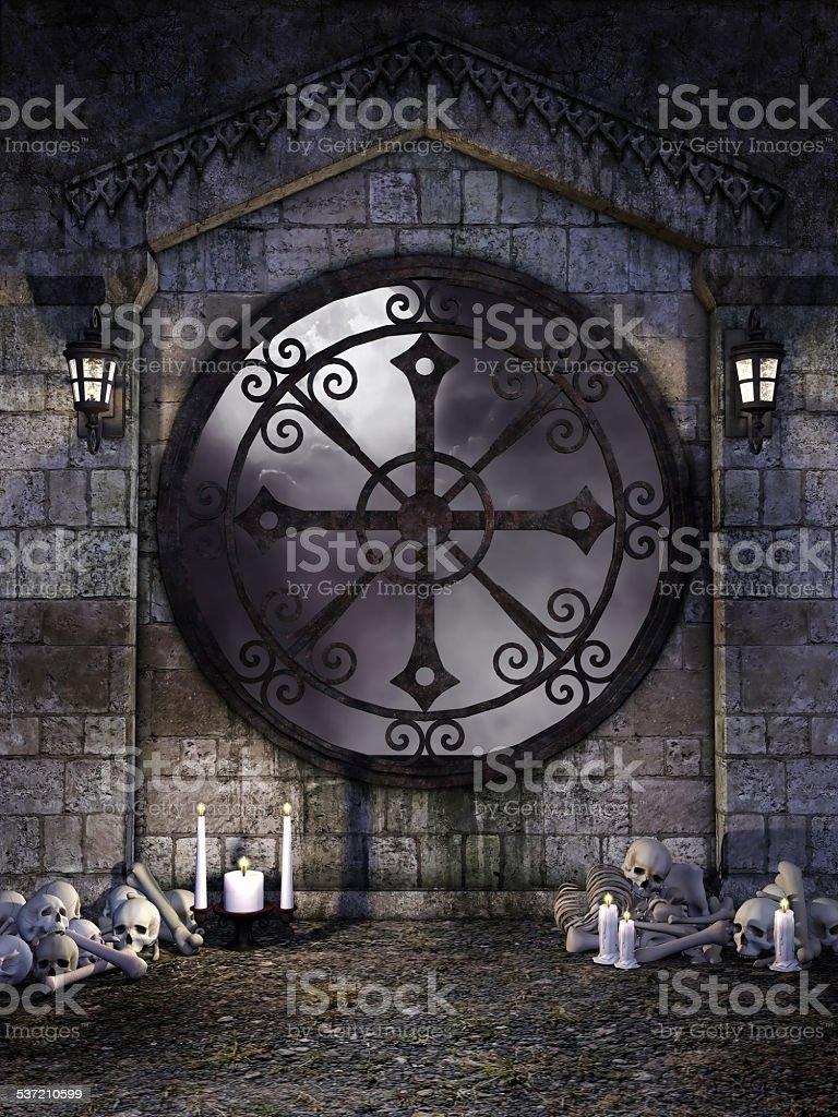 Gothic window with bones stock photo
