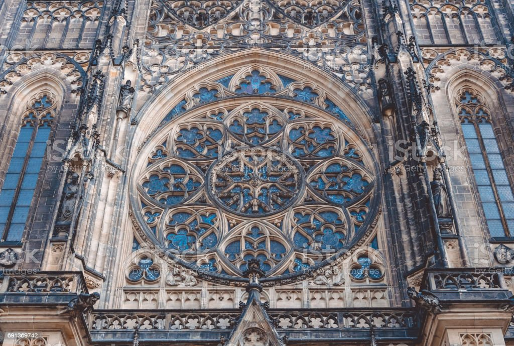 Gothic Windows And Stained Glass Of St Vitus Cathedral In Prague Czech Republic