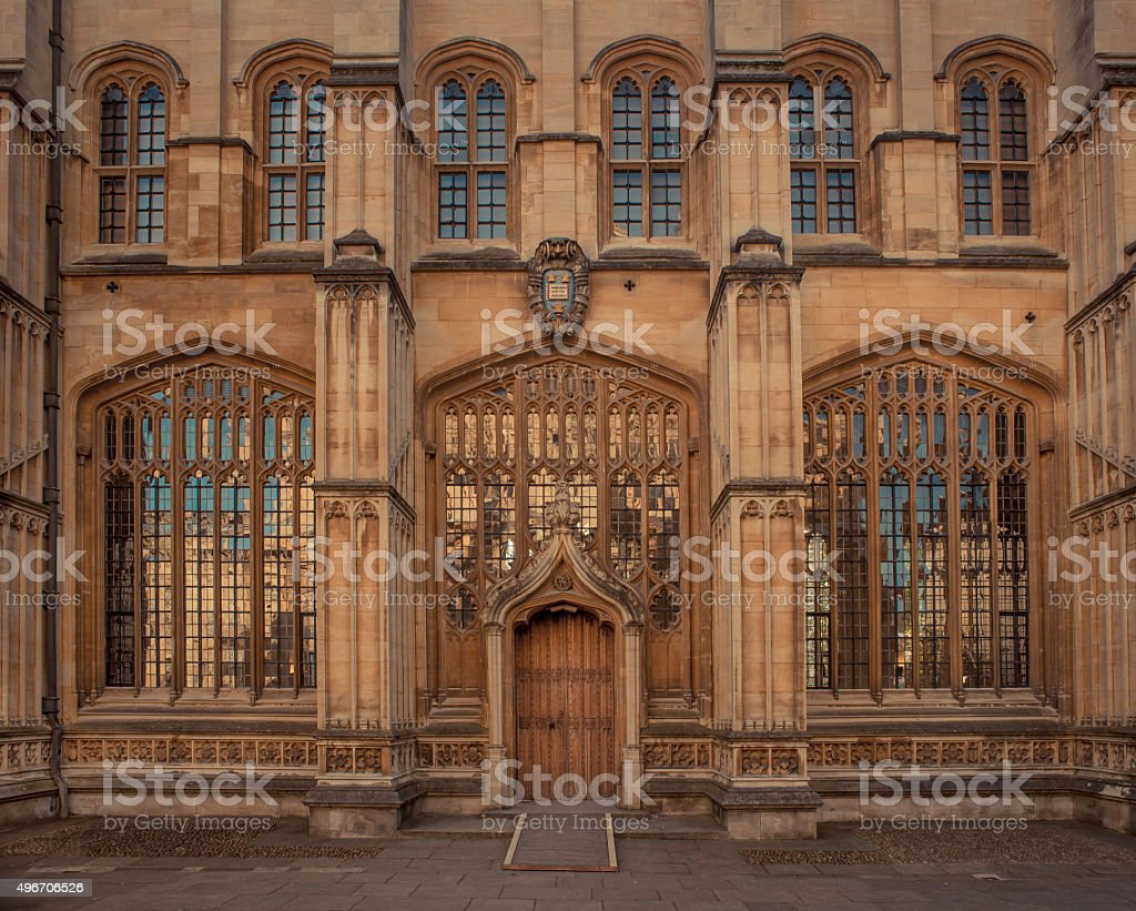 Gothic windows at the Bodleian library stock photo