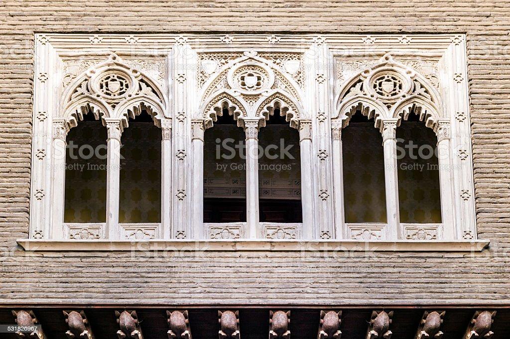 Gothic windows stock photo