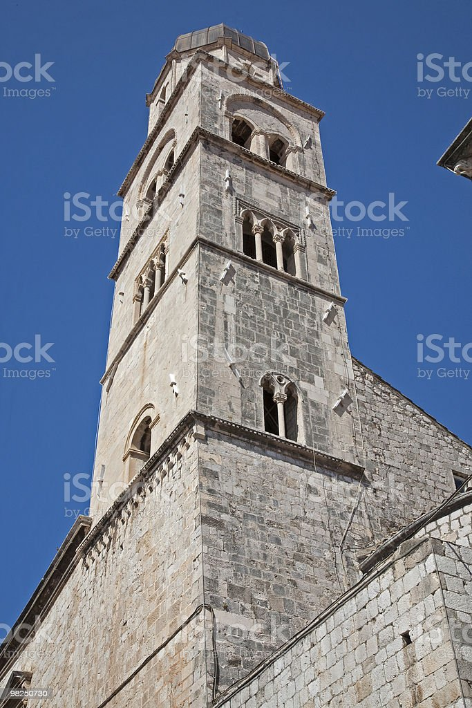 Gothic-Renaissance tall bell tower in Dubrovnik, Croatia royalty-free stock photo