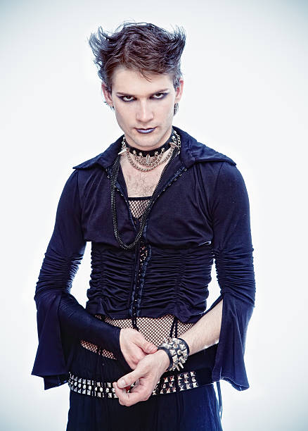 goth-style man goth-style man isolated photo goth stock pictures, royalty-free photos & images