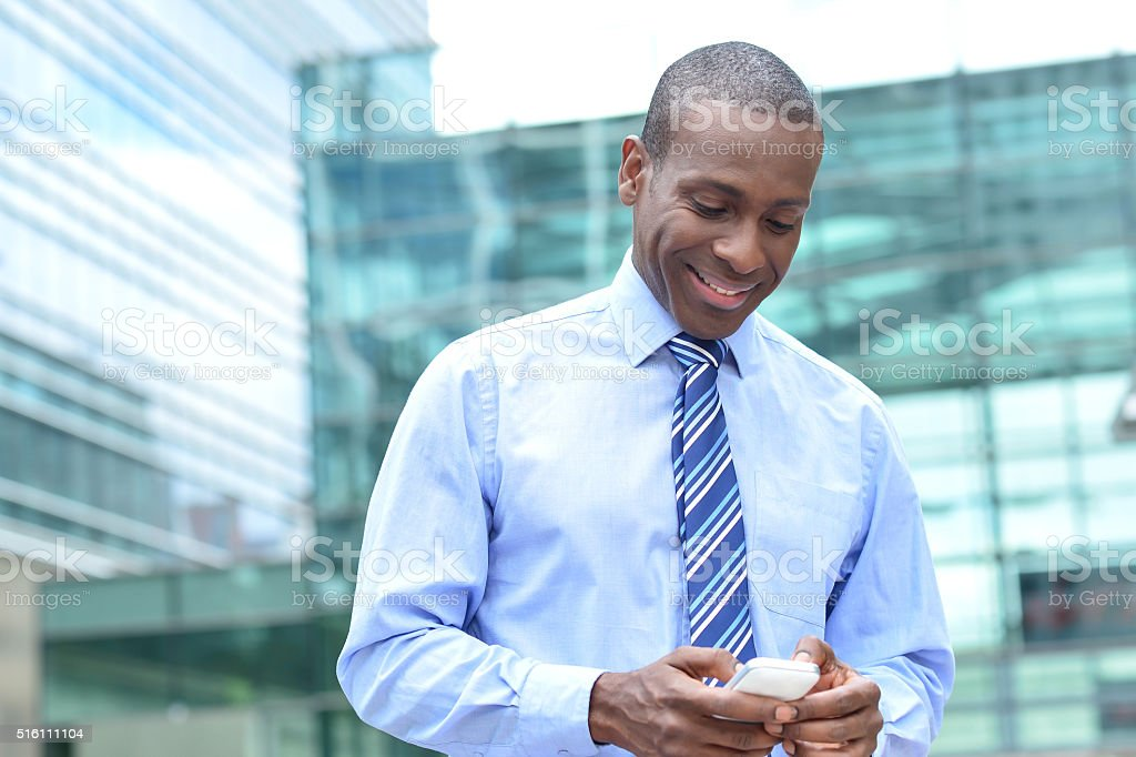Gotta a text from my boss ! stock photo