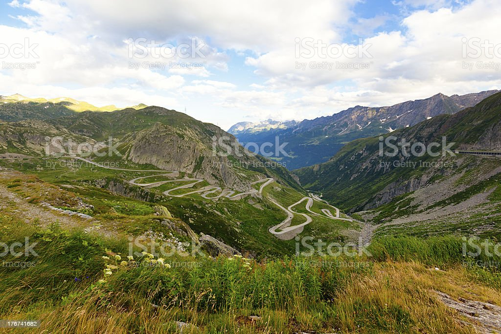 gotthard pass street royalty-free stock photo