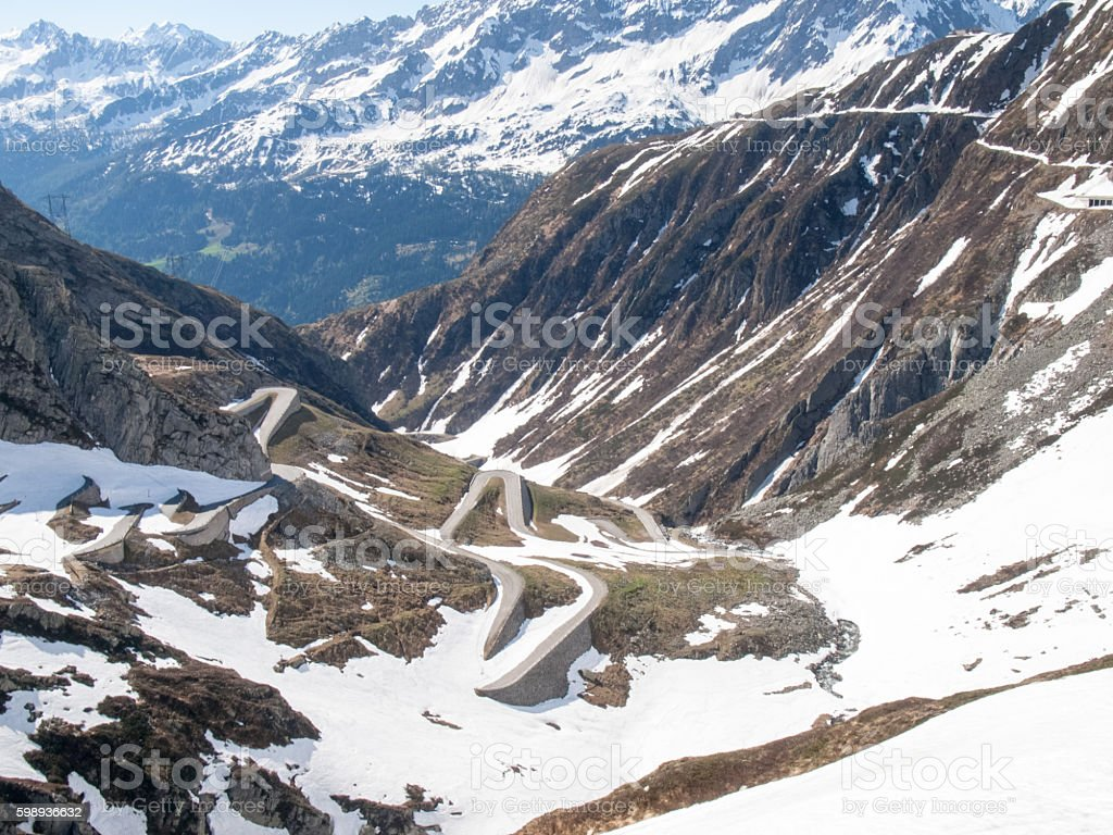 Gotthardpass, view of the valley of Tremola stock photo