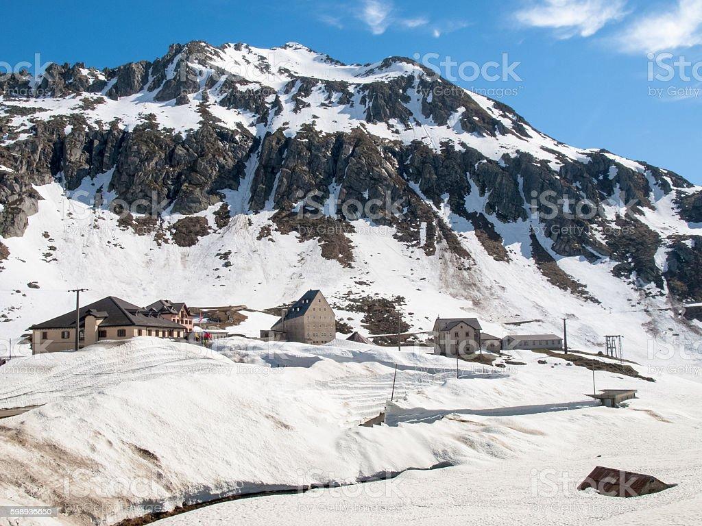 Gotthardpass, view of the Village stock photo