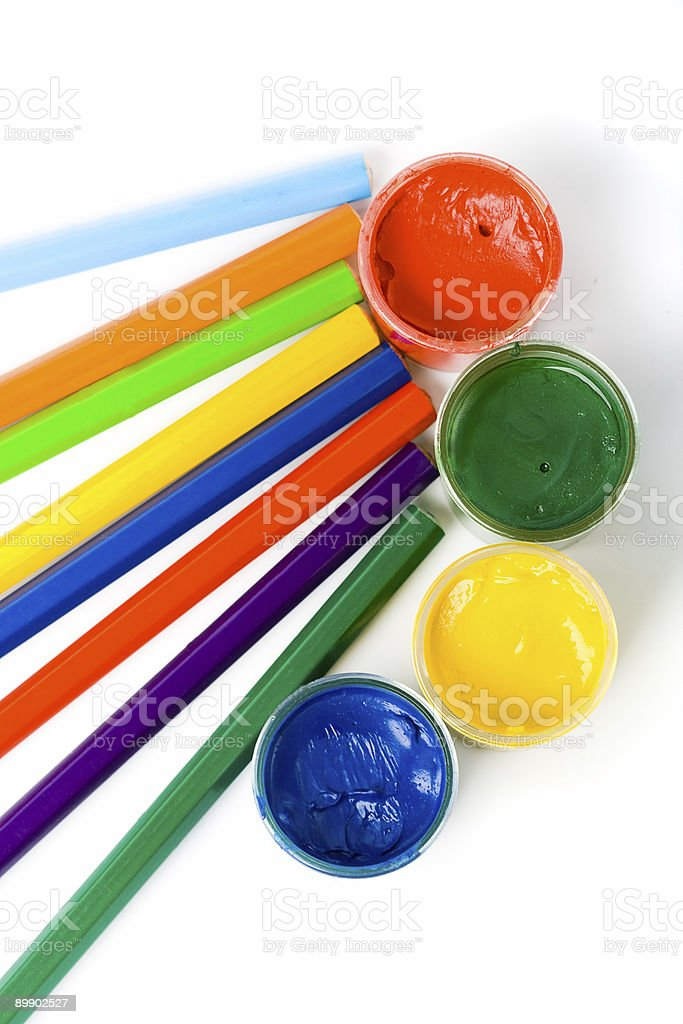 gouache paint and color pencils royalty-free stock photo