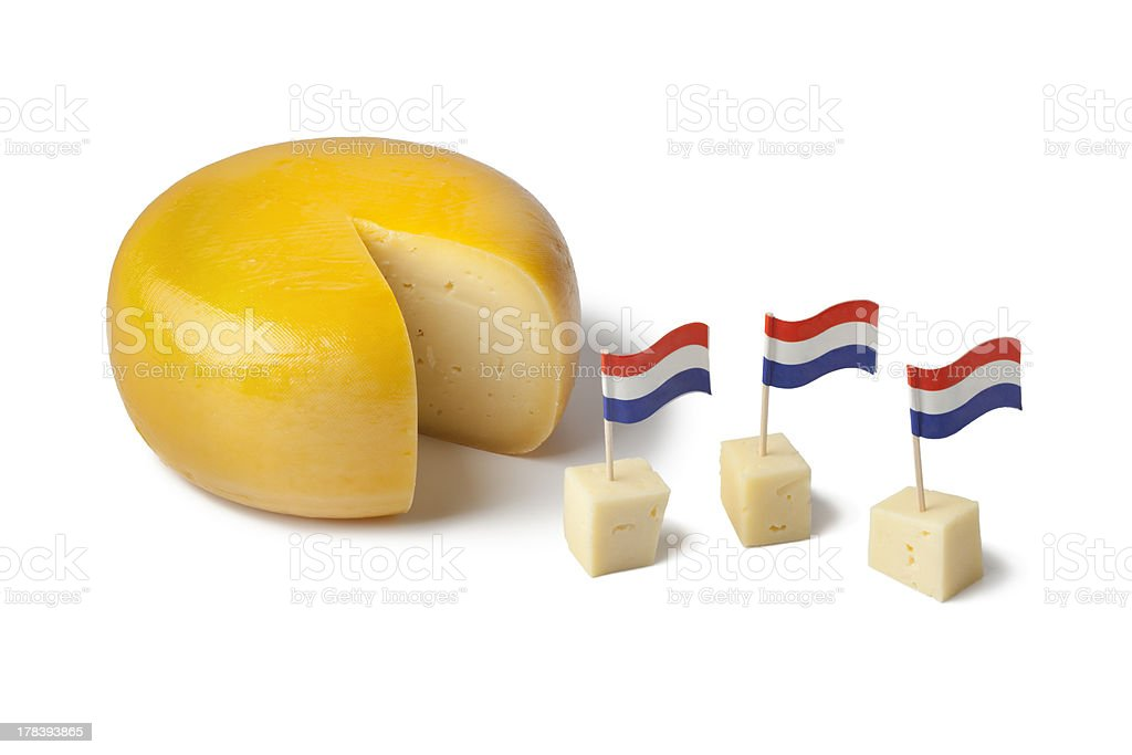Gouda cheese with dutch flags stock photo